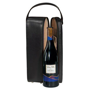 Royce Leather 621-6 Single Wine Presentation Case - Genuine Leather
