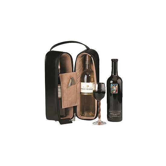 Royce Leather 622-6 Double Wine Presentation Case - Genuine Leather
