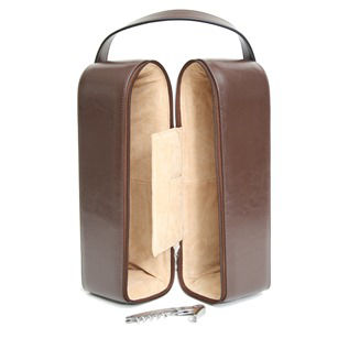 Royce Leather 622-6 Double Wine Presentation Case - Genuine Leather
