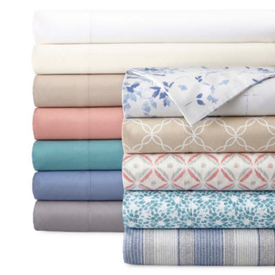 JCPenney Home™ 300tc 100% Cotton Ultra Soft Solid and Print Sheet Sets