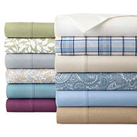 2-PK JCPenney Home 300tc Easy Care Solid and Print Sheet Sets Deals
