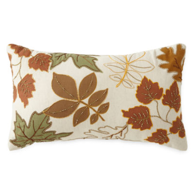 JCPenney Home™ Embroidered Leaves Pillow