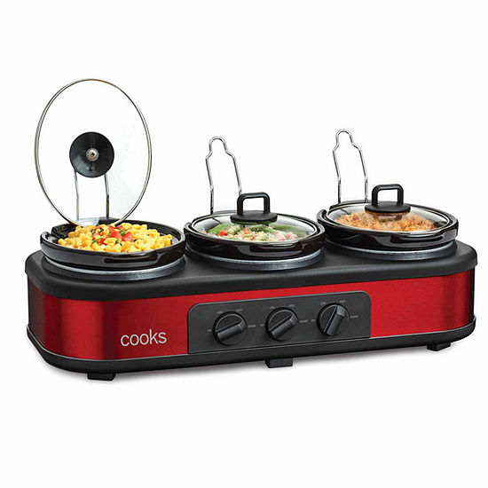 Cooks 3x1.5Qt. Triple Slow Cooker with Lid Rests