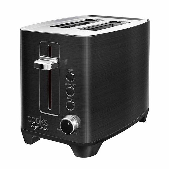 Cooks Signature Black Stainless Steel 2 Slice Toaster
