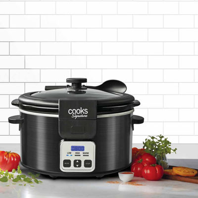 Cooks Signature Black Stainless Steel 6-Quart Programmable Slow Cooker