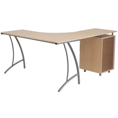 Laminate L-Shape Desk with Three Drawer Pedestal