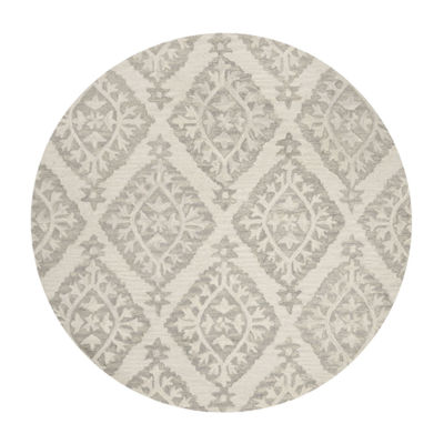 Safavieh Micro-Loop Collection Tracery Damask Round Area Rug