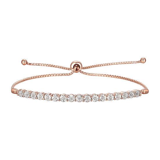 1/10 CT. T.W. Genuine White Diamond 14K Rose Gold Over Silver Bolo Bracelet