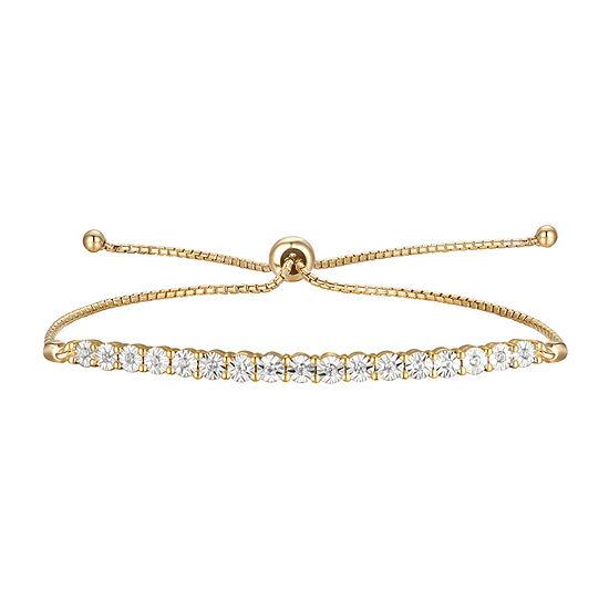 1/10 CT. T.W. Genuine Diamond 14K Gold Over Silver Bolo Bracelet