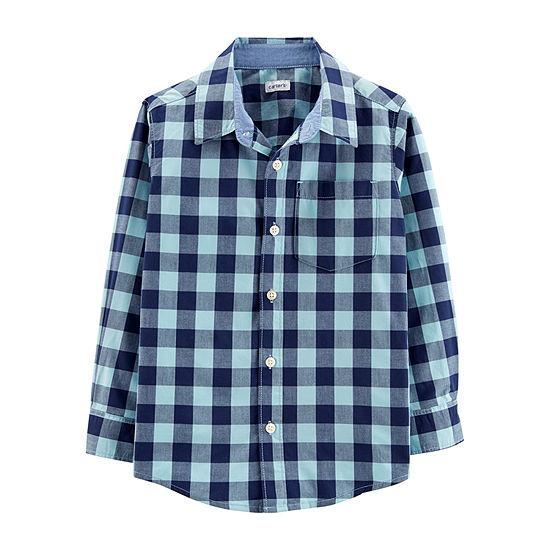 Carter's Boys Long Sleeve Button-Front Shirt Preschool / Big Kid