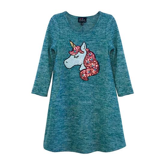 Lilt Girls 3/4 Sleeve Fitted Sleeve Sweater Dress - Preschool / Big Kid