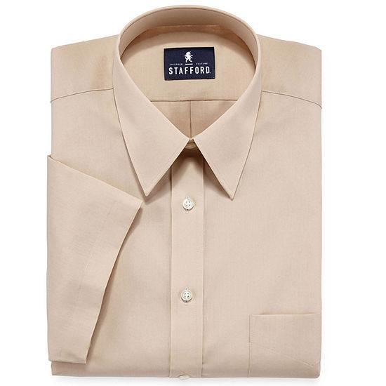 Stafford Travel Easy-Care Broadcloth Mens Point Collar Short Sleeve Dress Shirt