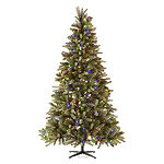 North Pole Trading Co. 7 1/2 Foot Hampton Spruce Pre-Lit Multi-Function Lights Christmas Tree