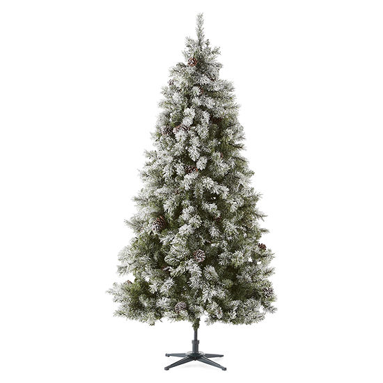 North Pole Trading Co. 7 1/2 Foot Canterbury Pine Pre-Lit Flocked Pre-Decorated Christmas Tree