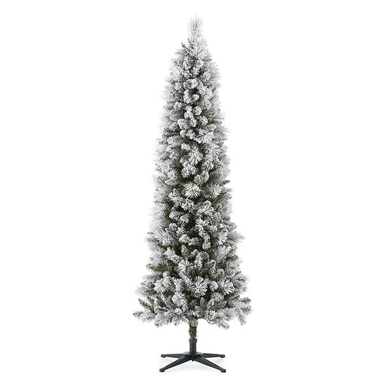North Pole Trading Co. 7 Foot Bethany Pine Pre-Lit Flocked Christmas Tree
