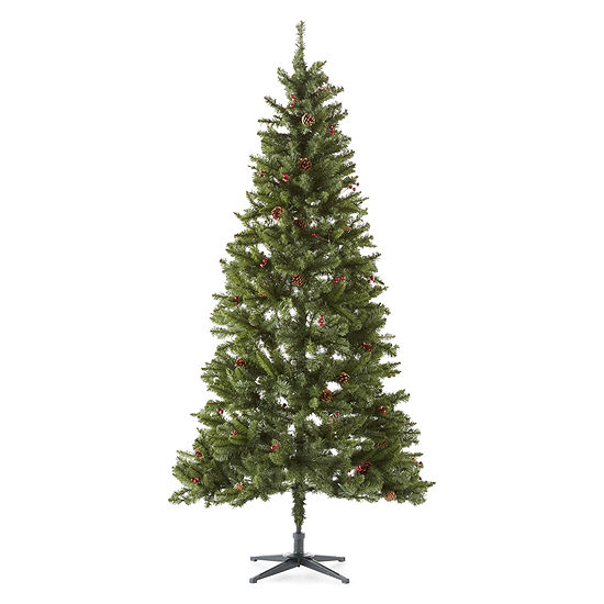 North Pole Trading Co. 7 1/2 Foot Beacon Pine Pre-Lit Pre-Decorated Christmas Tree
