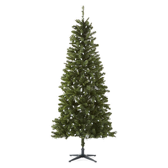 North Pole Trading Co. 7 1/2 Foot Plymouth Fir Pre-Lit Multi-Function Lights Christmas Tree