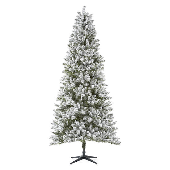 separation shoes 63cf0 b54e2 North Pole Trading Co. 9 Foot Manchester Spruce Pre-Lit Flocked Christmas  Tree