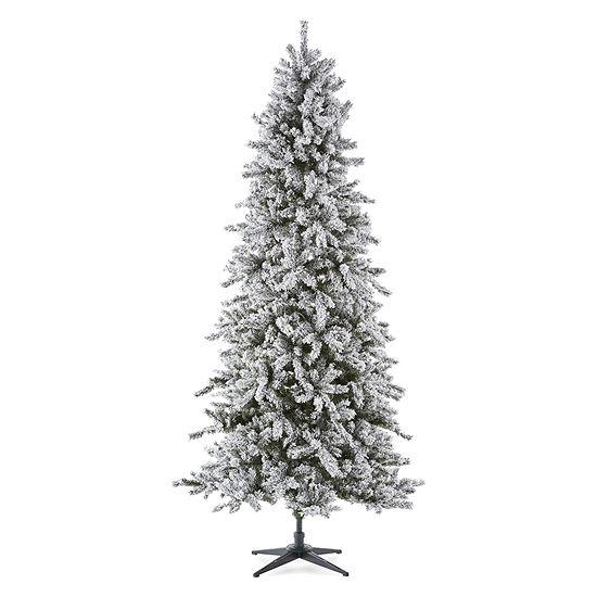 North Pole Trading Co. 9 Foot Farmington Spruce Pre-Lit Flocked Christmas Tree