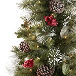 North Pole Trading Co. 4 Foot Burlington Fir Pre-Lit Potted Glitter-Tipped Christmas Tree