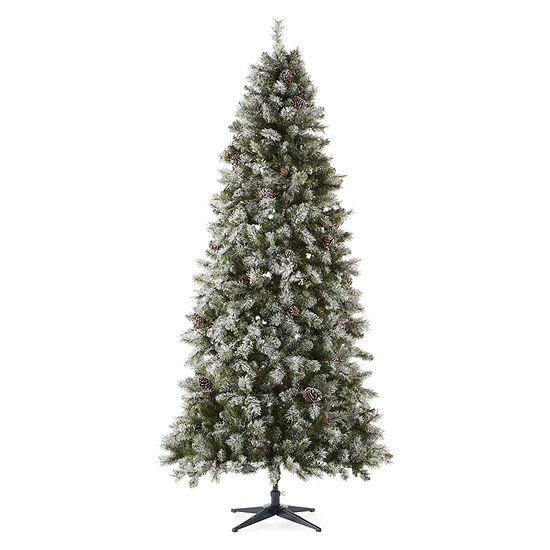 North Pole Trading Co. 9 Foot Canterbury Pine Pre-Lit Flocked Pre-Decorated Christmas Tree