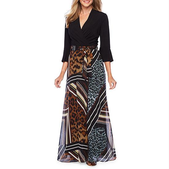 R & K Originals 3/4 Sleeve Animal Stripe Print Maxi Dress