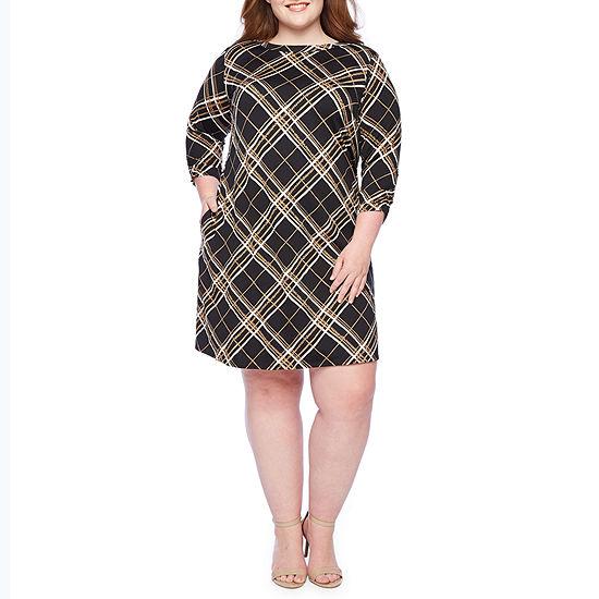 Alyx 3/4 Sleeve Plaid Puff Print Shift Dress-Plus