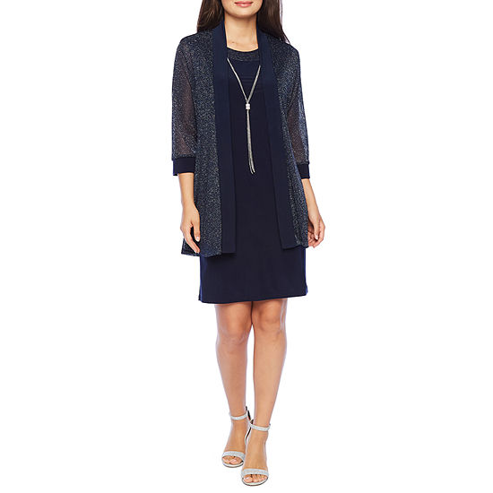 R & M Richards 3/4 Sleeve Jacket Dress-Petite