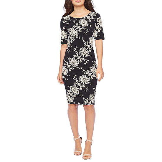Ronni Nicole Short Sleeve Scroll Sheath Dress-Petite