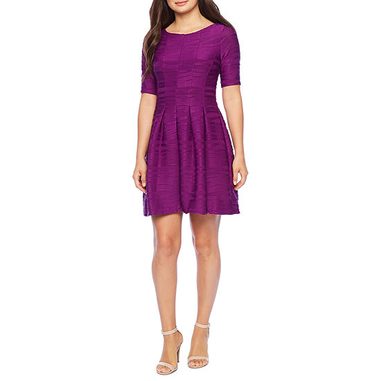 Danny & Nicole Short Sleeve Textured Knit Fit & Flare Dress-Petite