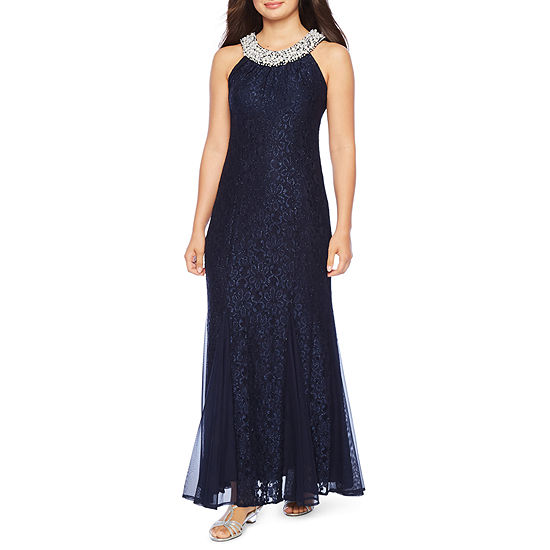 R & M Richards Sleeveless Lace Evening Gown-Petite