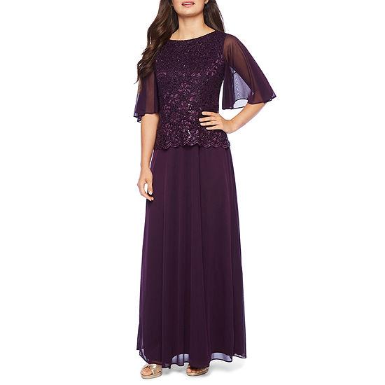 Onyx Short Flutter Sleeve Evening Gown