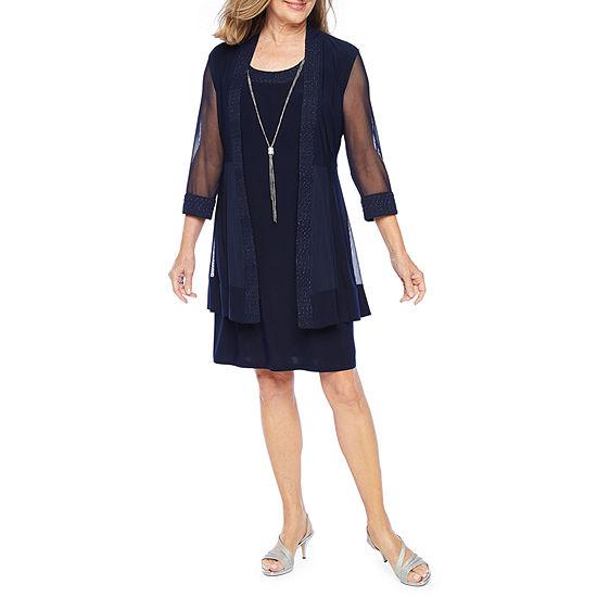 R & M Richards 3/4 Sleeve Embellished Jacket Dress with Necklace