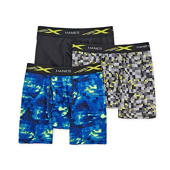 Hanes Poly Printed Little & Big Boys 3 Pack Boxer Briefs