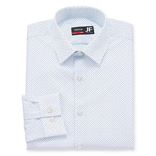 JF J.Ferrar Mens 4-Way Stretch Performance Long Sleeve Slim Dress Shirt