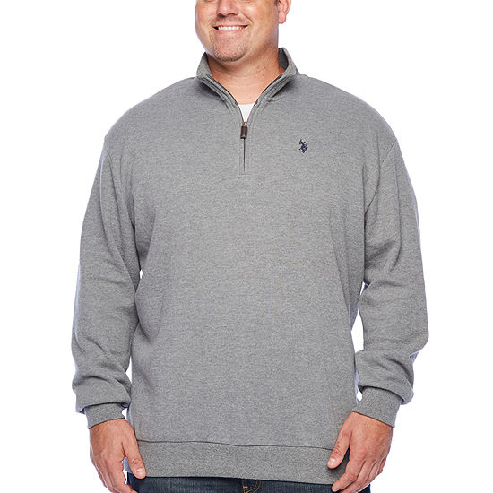 U.S. Polo Assn. Mens Mock Neck Long Sleeve Quarter-Zip Pullover Big and Tall