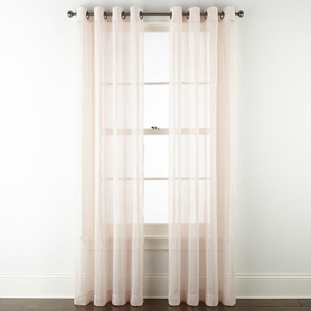 Regal Home Glimmer Metallic Sheer Grommet-Top Single Curtain Panel, One Size , Pink - 73132920067