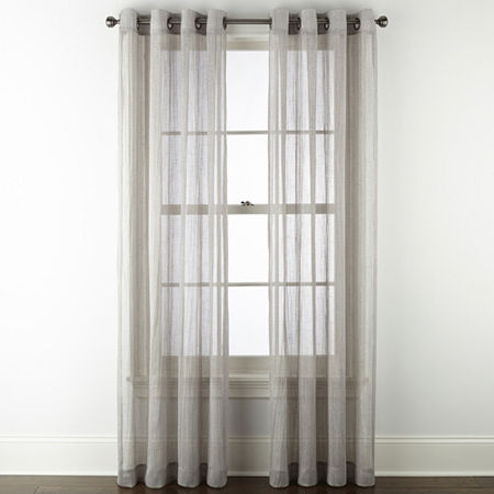 Regal Home Glimmer Metallic Sheer Grommet-Top Single Curtain Panel, One Size , Gray - 73132850034