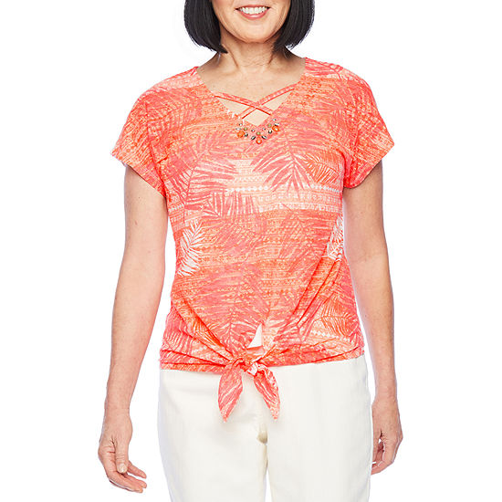 Hearts Of Palm Off Tropic-Womens V Neck Short Sleeve T-Shirt