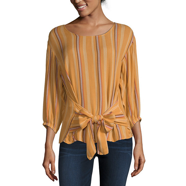 a.n.a-Petite Womens Round Neck 3/4 Sleeve Blouse