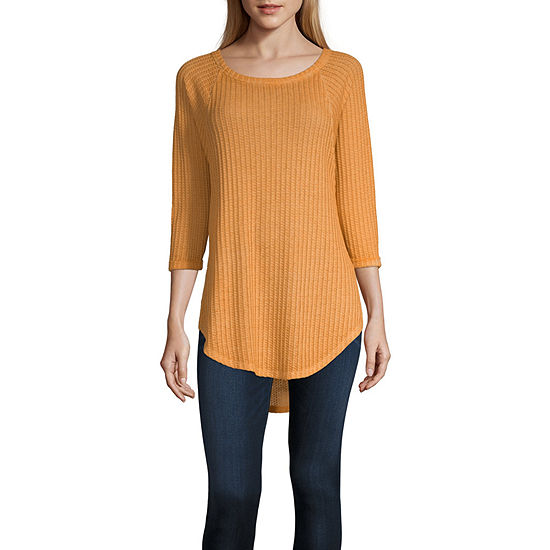 a.n.a Womens Round Neck Long Sleeve Tunic Top