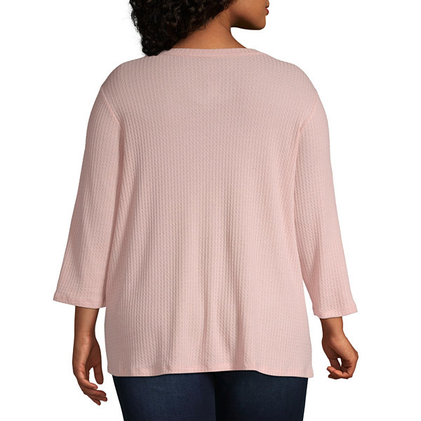 St. John's Bay Womens Crew Neck 3/4 Sleeve Blouse-Plus