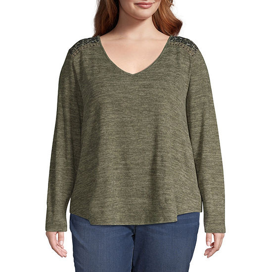 Truself Long Sleeve Back Button Detail Knit Top - Plus