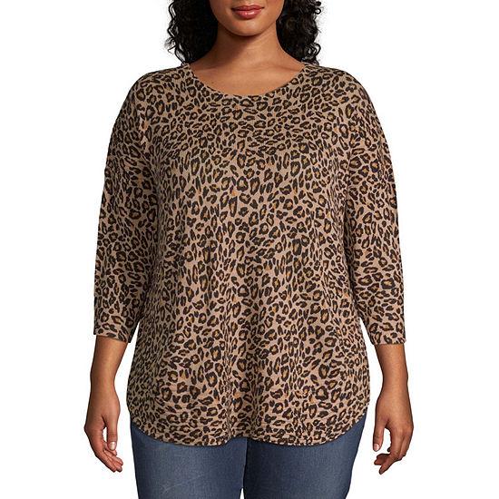 a.n.a Womens Curved Hem Sweater - Plus