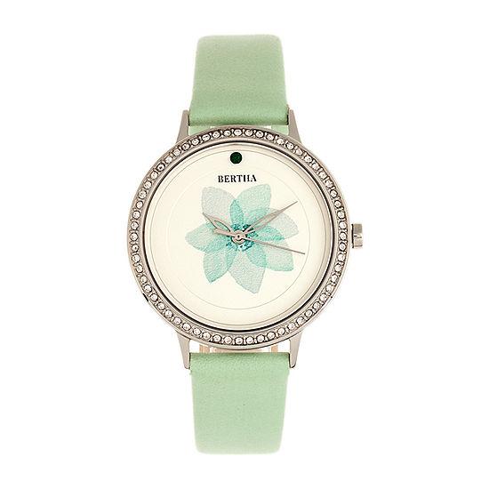 Bertha Womens Green Leather Strap Watch-Bthbr8601