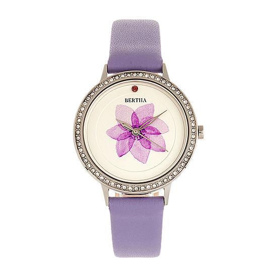 Bertha Womens Purple Leather Strap Watch-Bthbr8602
