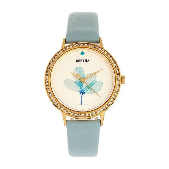 Bertha Womens Blue Leather Strap Watch-Bthbr8604