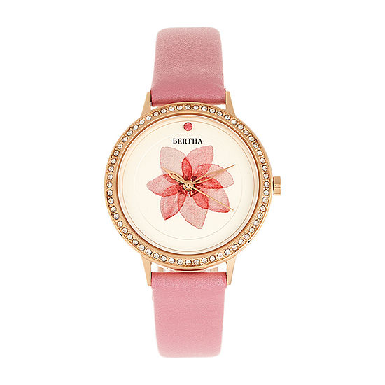 Bertha Womens Pink Leather Strap Watch-Bthbr8606