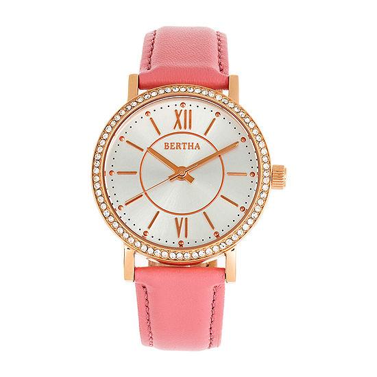 Bertha Womens Pink Leather Strap Watch-Bthbr9505