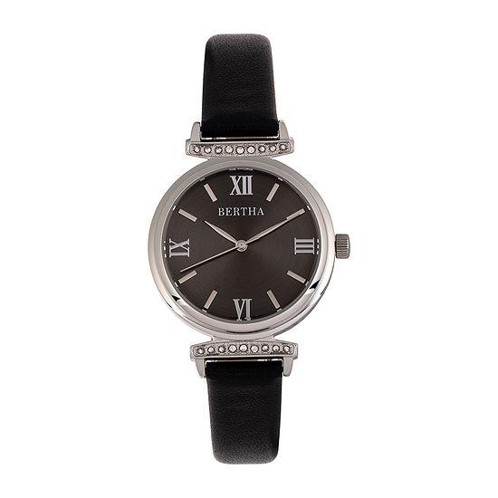 Bertha Womens Black Leather Strap Watch-Bthbr9601